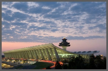 Dulles airport at night framed