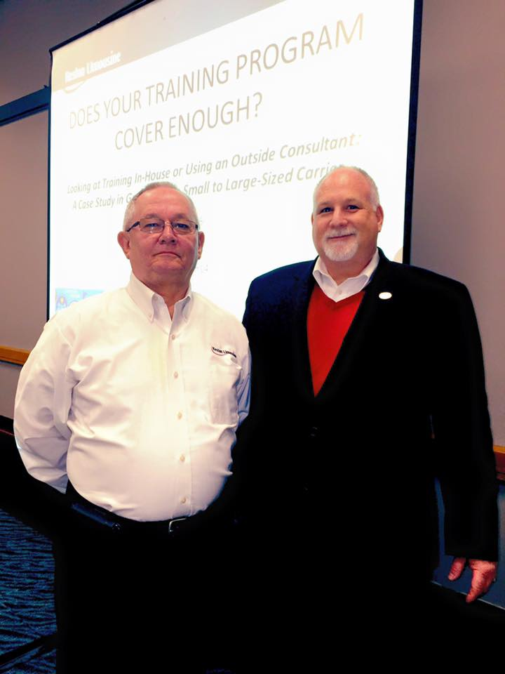 Safety and Training Manager Keith Johnson, left, and Director of Business Relations Barry Gross presented an educational session on training to operators at the American Bus Association's Marketplace 2016, the motorcoach industry's premier business event taking place Jan. 9-12 in Louisville, Kentucky.