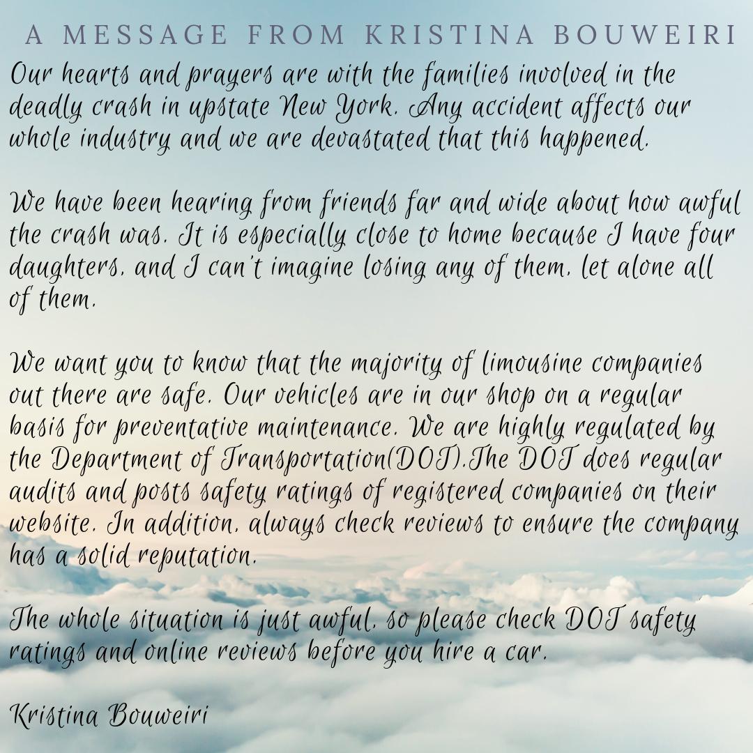 wholesale dealer 2b226 6a562 A Personal Message from Kristina Bouweiri | Reston Limousine